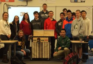 Daniel Karbousky and his Intro to Engineering class (Fall 2014) with their Solar Charging Station