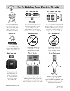 Tips for Building Solar Circuits (click image to download printable pdf)
