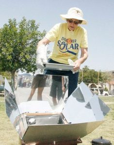 Mary Landau, GUSD's solar chef/educator extraordinaire will be on hand to share tips for engaging your students solar cooking explorations. In this photo, Mary is cooking with a SunOven – capable of temperatures over 300F – at the Glendale Solar Discovery Faire.