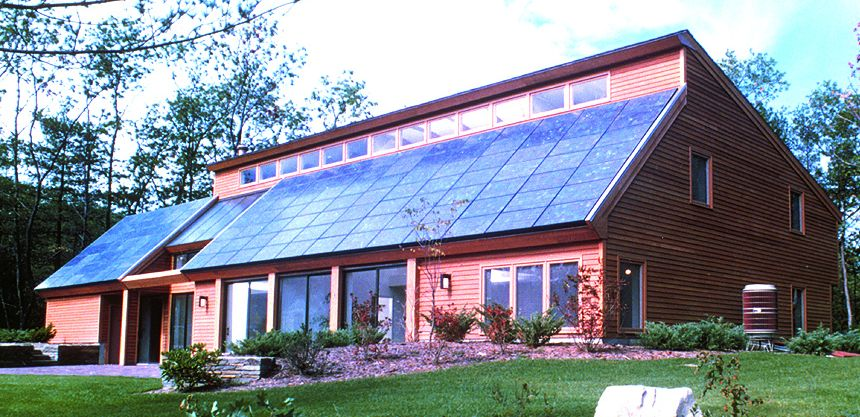 Designed and built by Steven Strong in 1980, the Carlisle House was one of the first Zero Net Energy homes using photovoltaics, passive solar heating, and solar hot water heating strategies.