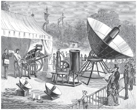 Abel Pifre's solar-powered printing press, 1880. While exhibiting it at the Gardens of theTui9leries, he printed five hundred copies of the Solar Journal