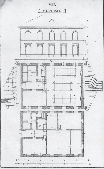 Gustav Vorherr's plans for a solar schoolhouse. (1820s)