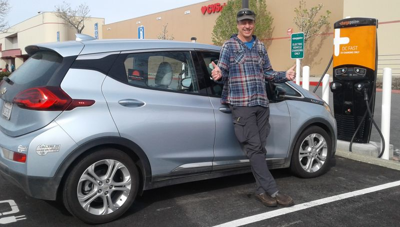 Tor- Fast charging the Bolt in Redding CA along the west coast electric highway.(March 2018)